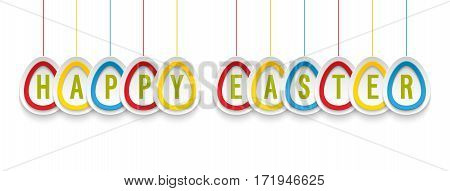 Happy Easter Greeting Card With Hanging Paper Eggs.