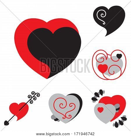 Set Of Different Shaped Vector Heart Icons