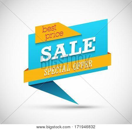 Sale Special Offer Blue Banner. Vector illustration.