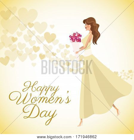 happy womens day card girl bouquet flowers heart background vector illustration eps 10