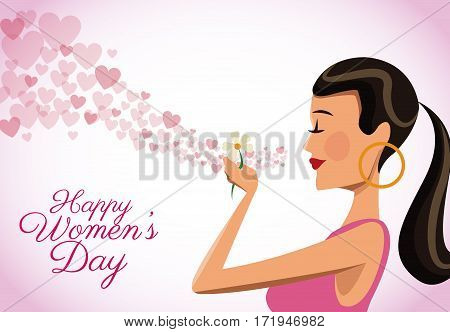 happy womens day card cute girl flower heart flying vector illustration eps 10