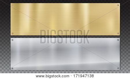 Banners of polished metal plates with screws. Polished metal background with metal texture on a transparent background. Yellow, gold, bronze and grey metal background for your design
