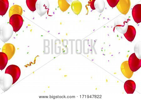 Festive background for greeting cards, presentations, commercial ad with color, inflatable balloons and streamers Stylish greetings happy birthday card with inflatable balloons, confetti and streamers