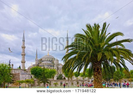 Istanbul, Turkey - May 6, 2016: Blue mosque Sultanahmet