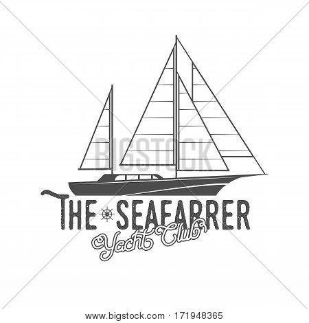 Vintage yacht club badge and logotype. Vintage retro nautical  emblem and label. Yackting logo