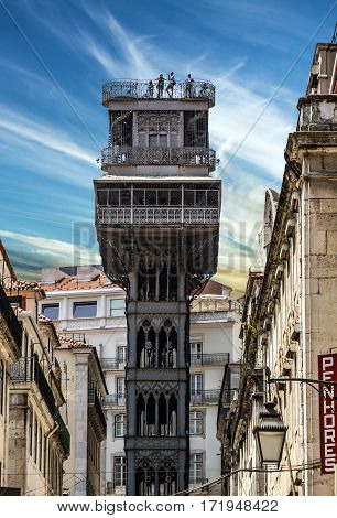 Historic elevator Santa Justa lift in Lisbon, Portugal. Elevador de Santa Justa