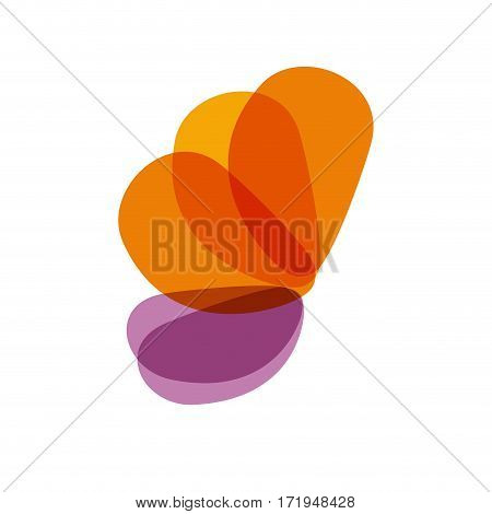 Vector sign abstract butterfly, isolated in white background