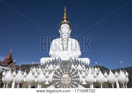 Big White Buddha statue Religion temple in Thailand.