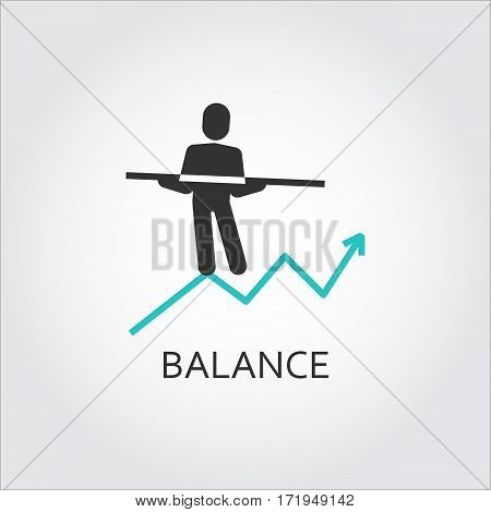 Iicon of balance as man goes on the chart. Vector illustratioin. Business balance concept. Logo drawn in flat style. Simple black label. Image for your design needs. Contour graphics