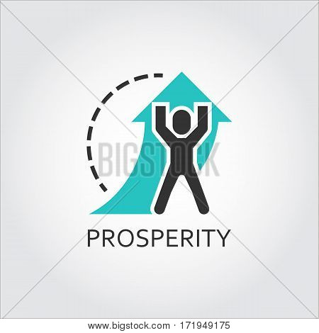 Flat vector icon with a picture of prosperity as man lifts arrow. Vector illustratioin. Business concept. Simple label. Contour graphics for your design needs