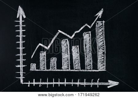 Graph showing rise in profits or earnings drawn over with chalk on blackboard