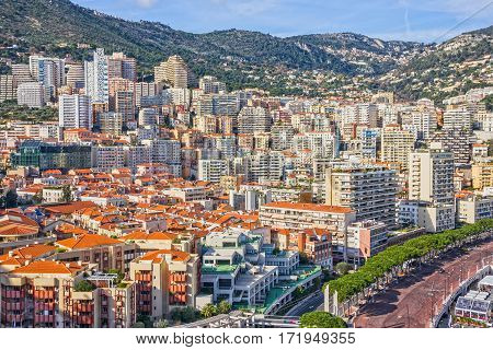 Monaco and Monte Carlo principality town houses, France.