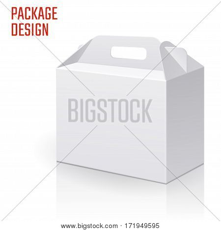 Vector Illustration of Clear Gift Carton Box for Design, Website, Background, Banner. White Habdle Package Template isolated on white. Retail pack with for your brand on it
