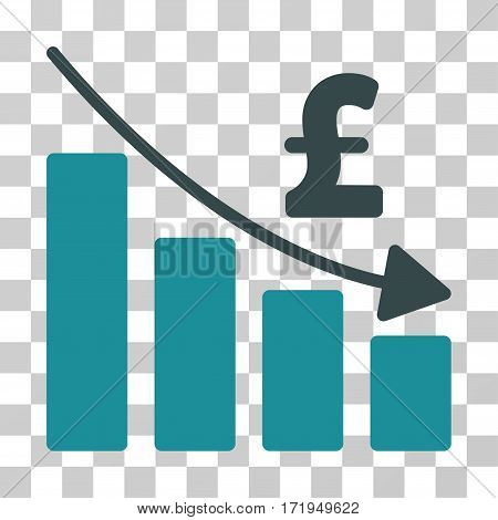 Pound Recession Bar Chart vector pictograph. Illustration style is a flat iconic bicolor soft blue symbol on a transparent background.