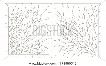 Set contour illustrations in the stained glass style tulips and crocuses dark outline on a white background
