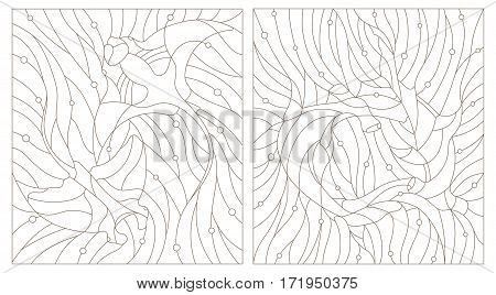 Set contour illustrations of stained glass fish hammerhead and manta rays on the background of water and air bubble