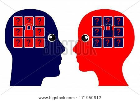Psychology of Dating. Two people trying to get to know each other by trial and error