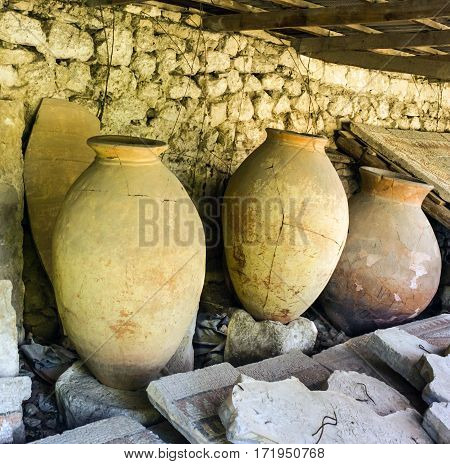 Ancient clay pots excavations into Greek city ruins, Ukraine