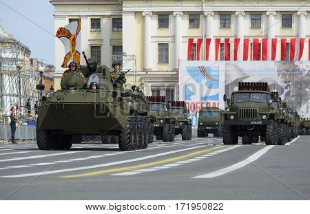 SAINT PETERSBURG, RUSSIA - MAY 05, 2015: The column of military equipment on rehearsal of parade in honor of Victory day. Saint Petersburg