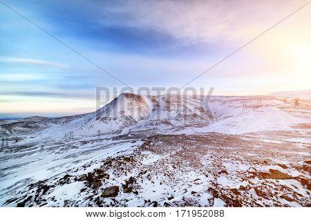 Arctic mountain landscape. The setting sun on mountains of the Taimyr peninsula.