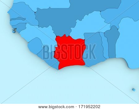 Ivory Coast On 3D Map