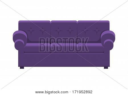 Violet sofa. Icon of furniture for an house interior, living room: classic or modern and vintage cozy couch. Vector flat colorful illustration isolated on white background.