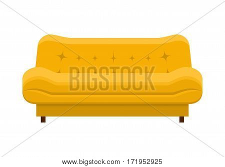 Yellow sofa. Icon of furniture for an house interior, living room: classic or modern and vintage cozy couch. Vector flat colorful illustration isolated on white background.