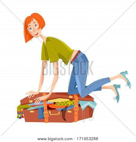 Young woman sitting on overflowed suitcase and trying to close it. Preparing for journey. Travel concept. Vector illustration