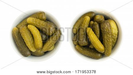 Homemade Pickled Gherkins Or Cucumbers In Glass Round Bowl