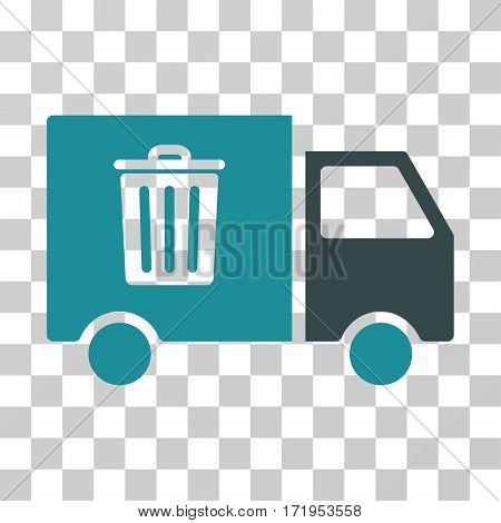 Rubbish Transport Van vector icon. Illustration style is a flat iconic bicolor soft blue symbol on a transparent background.