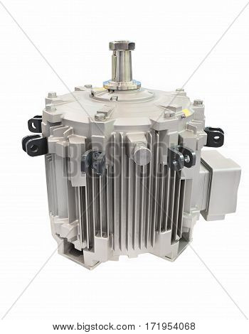 Powerful electric motor, isolated on a white background. Gray color.