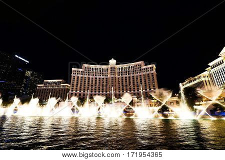 LAS VEGAS, USA - Oct 30: Fountain show at Bellagio hotel and casino on Oct 10, 2016 in Las Vegas, USA. Las Vegas is one of the top tourist destinations in the world.