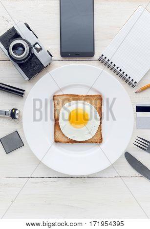 Still breakfast perfectionist hipster.whtie background. studio shot