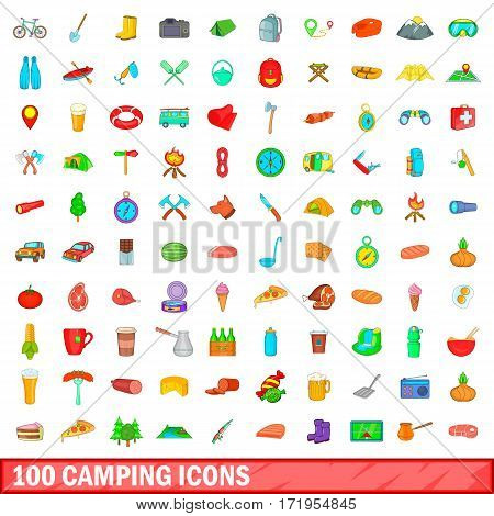 100 camping icons set in cartoon style for any design vector illustration
