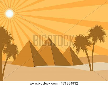 Egyptian pyramids in the desert. Sun rays and palms. Ancient Egypt. Vector illustration