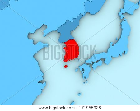 South Korea On 3D Map