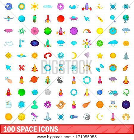 100 space icons set in cartoon style for any design vector illustration