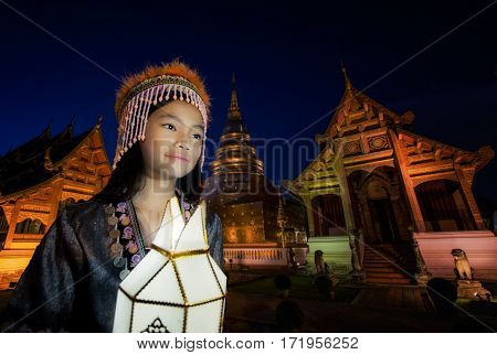 New year Thai people yeepeng lamp in Phra Singh temple Chiangmai Thailand. Chiang mai have yee peng lamp ceremony takes place every year