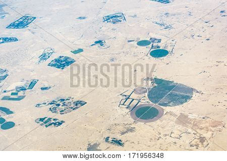 Aerial view of circular fields in the desert in Qatar