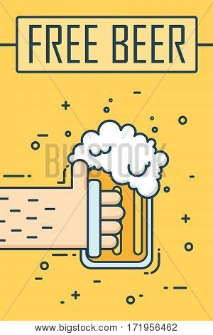 Thin line flat design banner. Hand holding a glass of beer. Vector background.