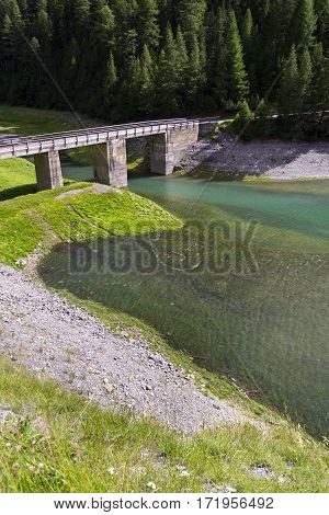 Heart Symbol From Stones In Livigno Lake, Alps Mountains, Italy