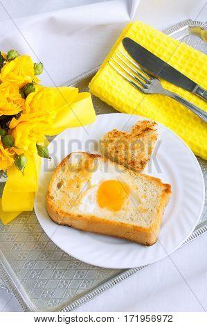 Morning Breakfast, Omelette, Bread, Heart Shape.