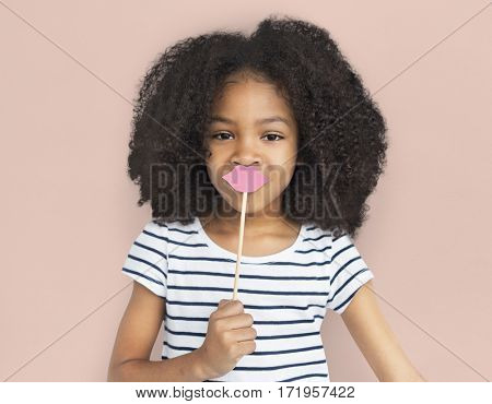 African Descent Little Girl Fake Lips Concept