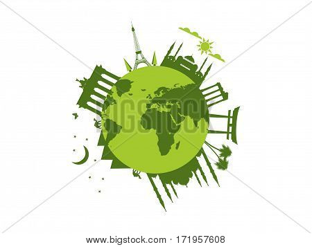 Planet Earth. World Landmarks Of Architecture. Travel Around The World. Vector Illustration
