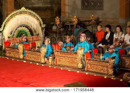 Ubud, Indonesia - July 01, 2015: Group of men playing music at a traditional Legong and Barong show in Ubud Palace