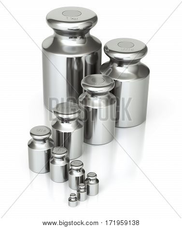 Calibration weight set with various sizes on a white background - 3D illustration