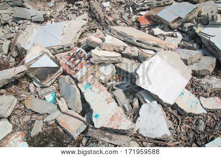 The concrete rubble debris on construction site