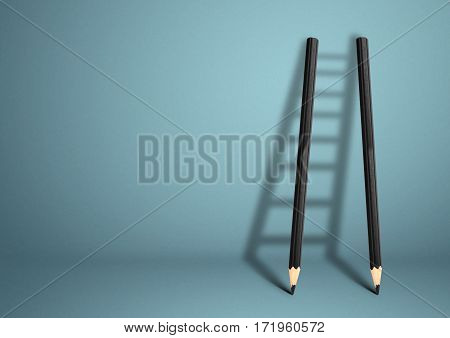 success creative concept , pencil Ladder with shadow