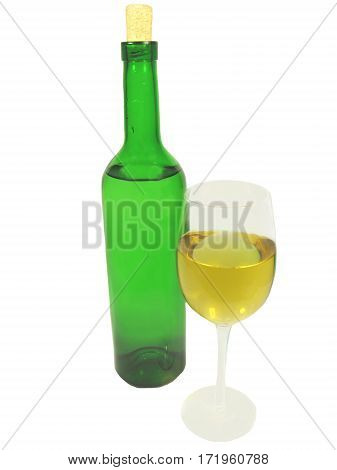 alcohol goblet of white wine and wine bottle