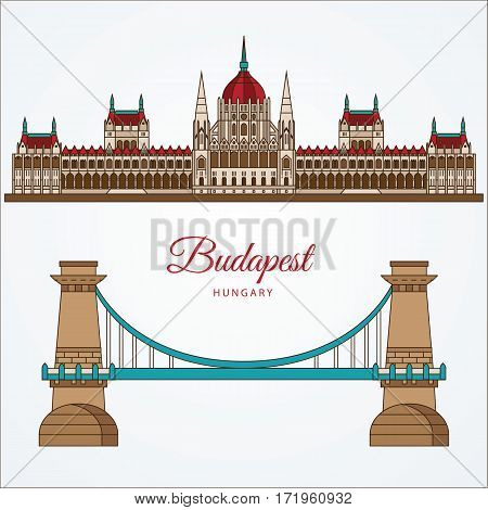 Hungarian Parliament Building and the Chain Bridge. The symbol of Budapest, Hungary. Vector linear Icon for travel agency.